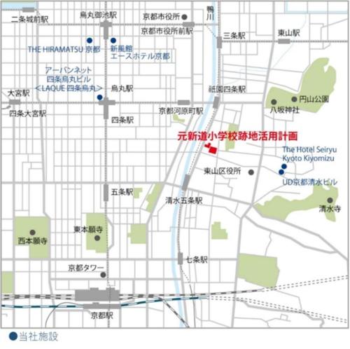 赤印が元新道小学校跡地活用計画の場所(資料:NTT都市開発)