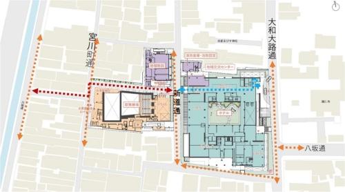 「元新道小学校跡地活用計画」の全体像。ホテルと歌舞練場、地域施設の3つを新築する(資料:NTT都市開発)