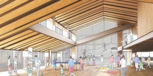 地域施設につくる多目的室のイメージ。水害時の避難所にもなるよう、3m以上の高さに配置する(資料:NTT都市開発)