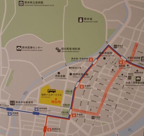サクラマチクマモトと周辺の地図。熊本市の中心地に位置する(写真:日経アーキテクチュア)