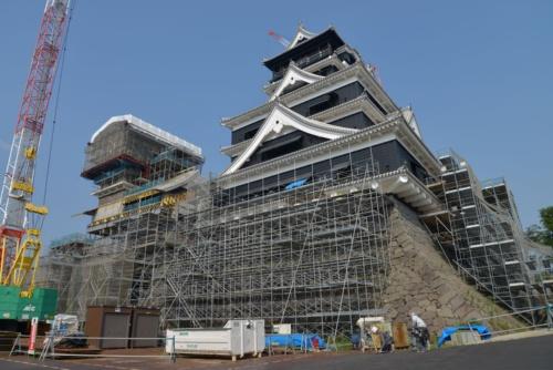 熊本城は2019年10月5日から、大天守の外観を一般公開する。同年9月13日に撮影(写真:日経アーキテクチュア)