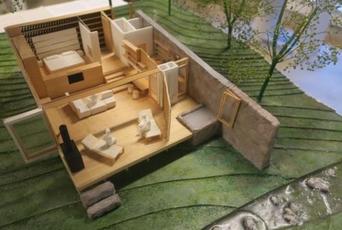 スイートヴィラの模型。大開口やテラス、バスルームなどを確認できる(写真:日経アーキテクチュア)