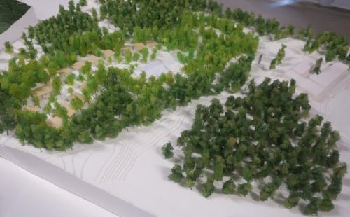 坂茂氏が設計している「スイートヴィラ」15棟(写真左)が、石上純也氏の設計で18年6月に完成したランドスケープ「水庭」(写真右)の目の前にできる。写真はその模型(写真:日経アーキテクチュア)