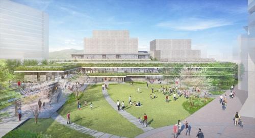 日建設計が設計を手掛ける「枚方市総合文化芸術センター」は2021年3月に竣工予定。京阪本線の枚方市駅に隣接する敷地は、大阪府枚方市の緑化重点地区という位置付けのため、緑豊かな施設前広場を設ける。また、広場とエントランスロビー、エントランスロビーとイベントホールは一体利用できるオープンな空間とし、市民の様々な活動を誘発する空間を提供。大ホールと小ホールには劇場での採用が初となる放射空調を採用し、空調騒音の低減と快適な空調環境の実現を目指す(資料:日建設計)