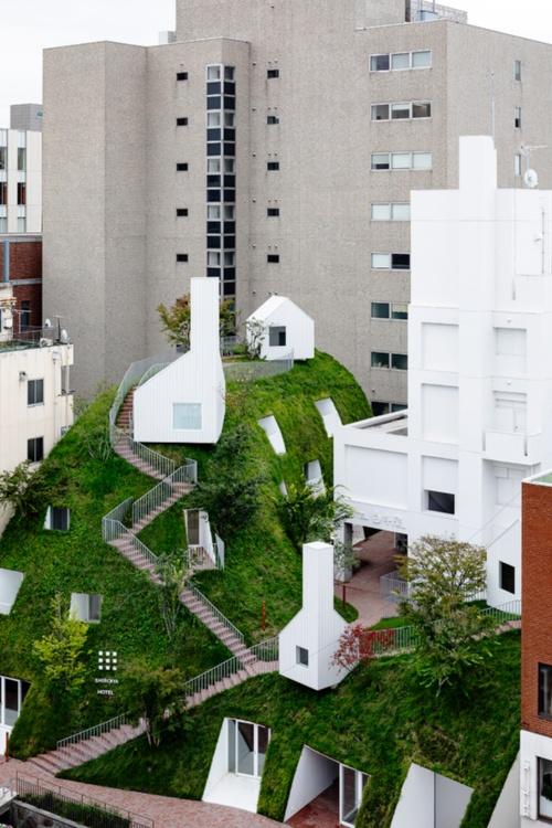 利根川の旧河川の土手をイメージして新築した「グリーンタワー」(写真:Shinya Kigure)
