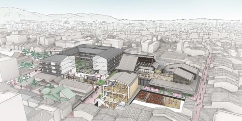 「元新道(しんみち)小学校跡地活用」全体の完成イメージ(資料:NTT都市開発)