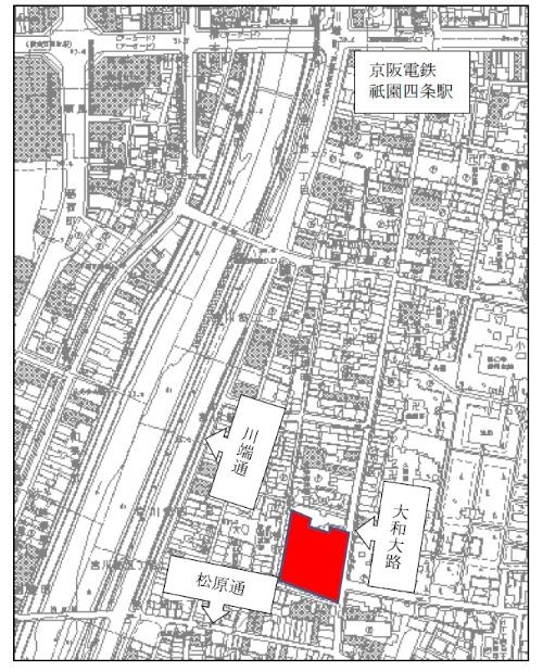 赤色の部分が、元新道小学校敷地および隣接する宮川町歌舞練場敷地(資料:京都市)