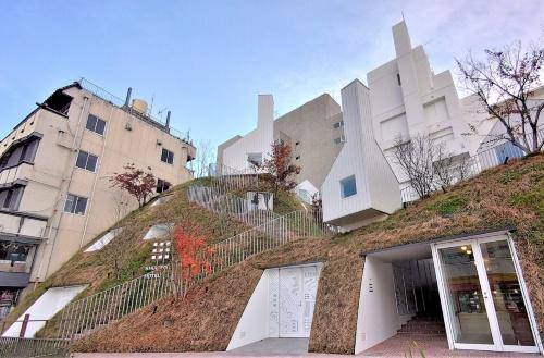 人工の「緑の丘」に白い小屋が点在する。利根川の旧河川の土手をイメージして新築した「グリーンタワー」。客室は丘の内部に埋め込んだ(写真:日経クロステック)