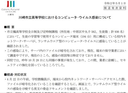 川崎市立橘高校のランサムウエア被害について