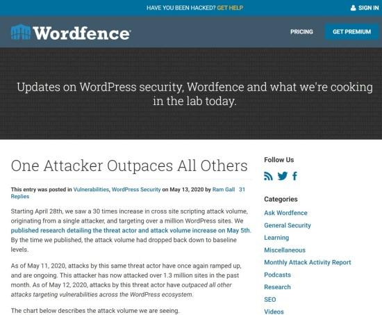 WordPressへの攻撃に関するブログ