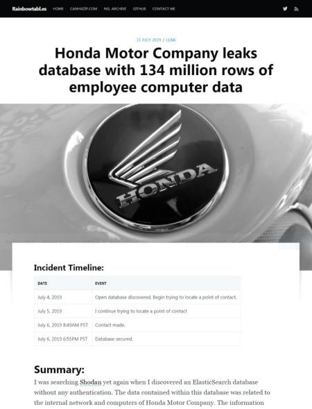 ホンダの社内システム情報が丸見えであることを指摘したジャスティン・ペイン氏の記事