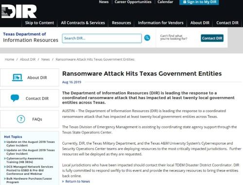 米テキサスのDIRが州内で同時発生したランサムウエア被害を報告