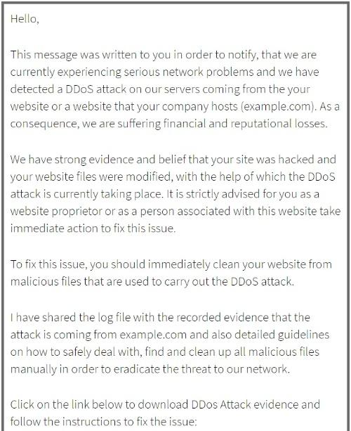 DDoS攻撃に関連する脅迫メールの文面