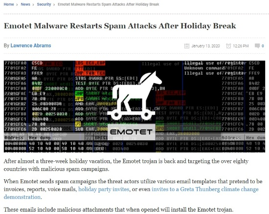 複数のセキュリティー専門家によるEmotetウイルスの注意喚起