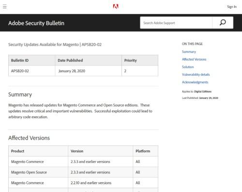 Magentoの脆弱性に関するセキュリティー情報「APSB20-02」