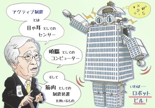 小堀鐸二氏が、特に実現に向けて力を注いでいた「アクティブ制震」のイメージ。ロボットのキャラクターは、当時の鹿島のCMに登場させるべく考案されたもの(イラスト:綿貫 志野)