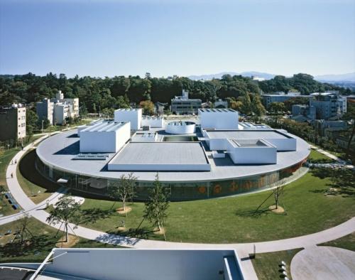 西側から見下ろした開館当初の外観。ガラス張りの平面の中に、大小の四角い展示室がランダムに配置されている(写真:吉田 誠)