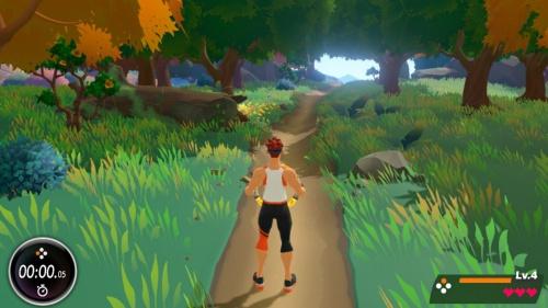 アドベンチャーモード。足踏みをするとキャラクターが前進し、広い世界を冒険できる。