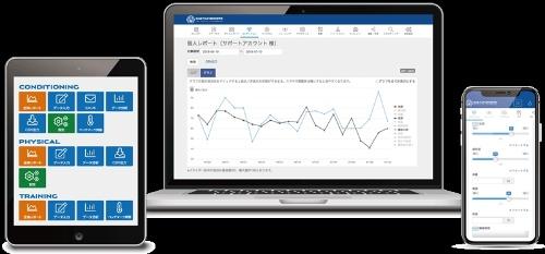 ユーフォリアがアスリート向けに提供する、コンディション管理用のクラウドサービス「ONE TAP SPORTS」の各デバイスでの画面例