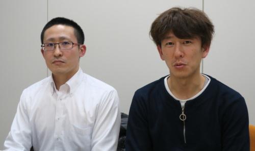 TISのサービス事業統括本部AIサービス事業部AIサービス企画開発部の美澄暢彦主任(左)と石黒雅之主任(右)