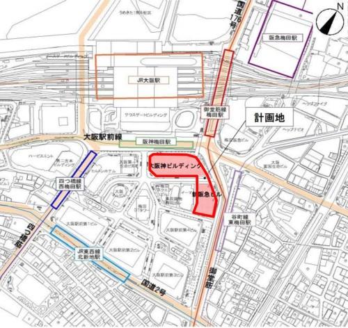 計画地の周辺図(資料:阪急阪神ホールディングス)