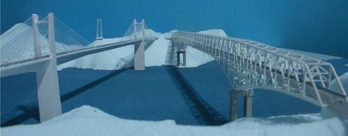 エクストラドーズド橋を架けた場合の模型写真(写真:熊本県)