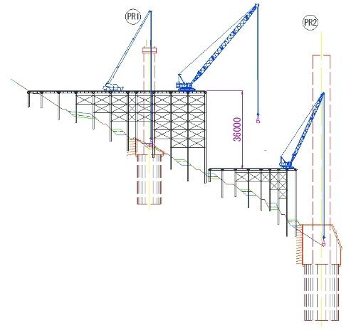 当初の段差桟橋のイメージ。渓谷が深いため、急斜面の上下に桟橋を設置する想定だった(資料:大成建設)