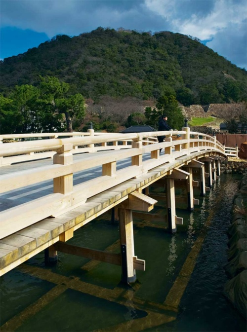 堀をのぞくと水中梁がうっすらと見える。水中梁が見やすいようにフィルターを付けて撮影した(写真:生田 将人)