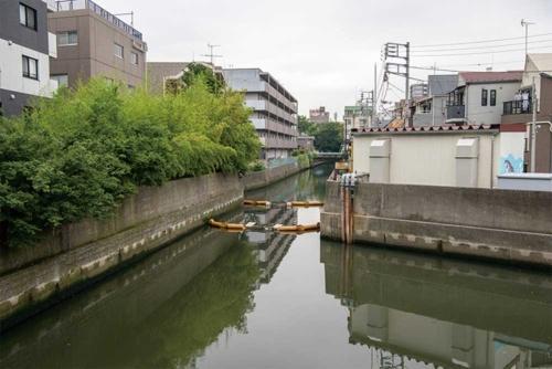 立会川の下流側から上流側を見る。雨水放流管のシールド機は、川の真下を手前から奥に向かって掘り進む(写真:大村 拓也)