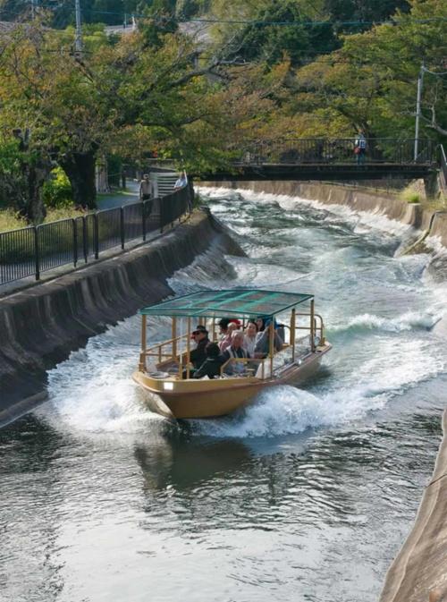 2018年春、約70年ぶりに復活した「びわ湖疏水船」。第1琵琶湖疏水のうち、大津市と京都市蹴上(けあげ)をつなぐ7.8kmの区間を観光船として運行する。疏水の流れに逆らう上り便は、船の速度を上げて波の影響を少なくする(写真:生田 将人)