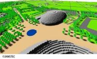 ヒートアイランド対策前の熊谷スポーツ文化公園の3次元モデル(資料:海洋研究開発機構)