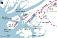 夢洲への鉄道延伸計画。実線は既存の路線で、破線は構想中のルート。道路橋の拡幅計画もある。大阪市の資料を基に日経コンストラクションが作成