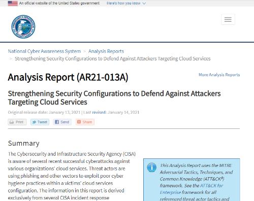 CISAが公開した解析リポート「AR21-013A」