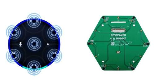 左はAmazon Echoのマイク配置を示す。右はReSpeaker 6マイク円形アレイキットで、マイクが円上に配置されているが外形は六角形。中央部にマイクがないことを除けばAmazon Echoとマイクの配置位置が似ている