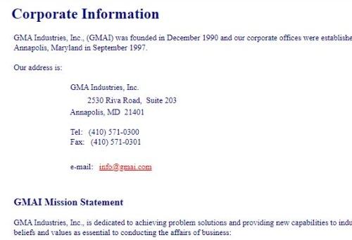 gmai.comのWebサイトに掲載されていた会社情報