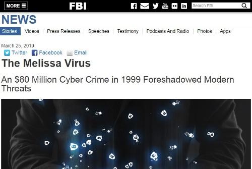 メリッサ出現から20周年であることを伝えるFBIのWebサイト