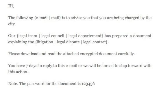 弁護士事務所をかたる偽メールの例