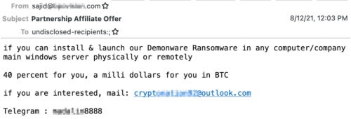 ある企業の従業員に対して送られたメール(画像を一部修整)