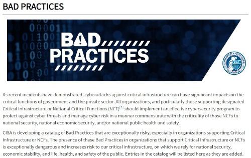Bad PracticesのWebサイト(https://www.cisa.gov/BadPractices)