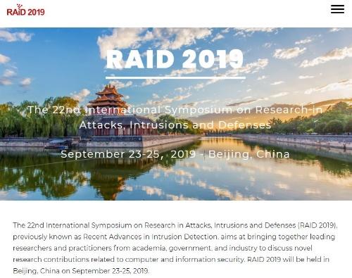 サイバーセキュリティーの国際会議「RAID 2019」のWebサイト
