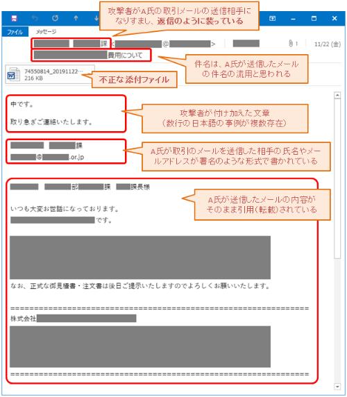 Emotetが送信する感染拡大メールの例
