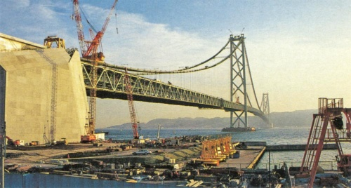神戸市側から見た施工中の明石海峡大橋。1カ月で平均90mずつ補剛桁のトラス部材の架設を進め、1996年9月に閉合。本州と淡路島が1本の橋桁でつながった(写真:日経コンストラクション)