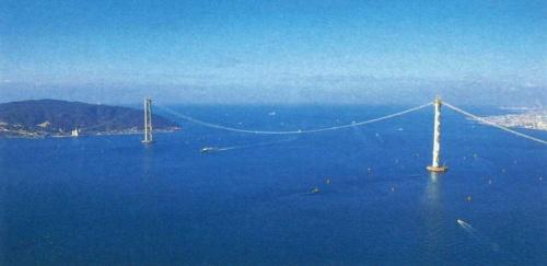 地震直後に撮影した明石海峡大橋。中央支間長が80cm、写真左手の淡路市側の側支間長が30cm伸びた(写真:三島 叡)