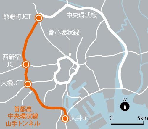 山手トンネルの位置。首都高中央環状線の西側部分に当たる(資料:日経コンストラクション)