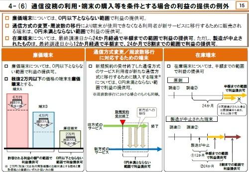 通信方式変更や周波数移行への対応で販売する端末は0円未満とならない範囲で端末購入補助の提供が可能。NTTドコモは2019年9月末でFOMA(音声プラン)の新規受け付けを終了しており、この適用対象となる