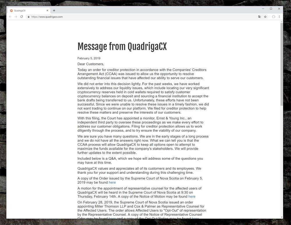 2019年4月時点のクアドリガCXトップページ。裁判所から債権者保護の命令が下された旨を伝える文面とQ&Aのみの簡素なレイアウトになっていた。 (出所:クアドリガCX)