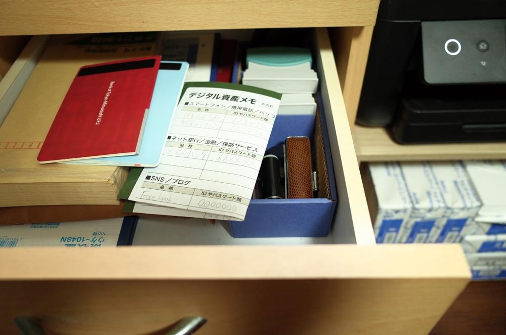 必要最小限の情報を紙にして、重要書類入れにしまっておく。 (撮影:古田 雄介)