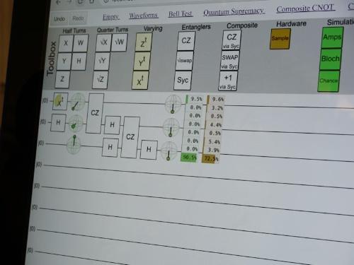 量子コンピューターのプログラミングをしている画面