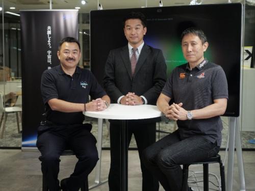 「宇宙×ラグビー」におけるチームビルディングを主テーマに対談した3名。左から星出氏、神武氏、渡瀬氏