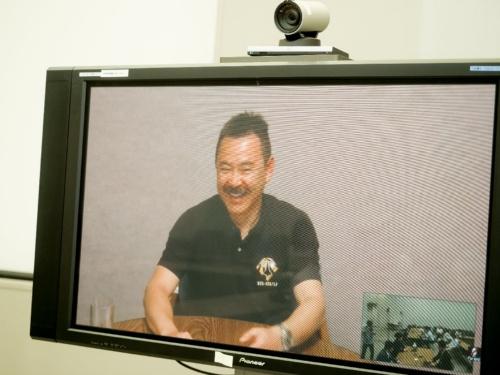 米国からテレビ会議で参加した宇宙飛行士の星出彰彦氏